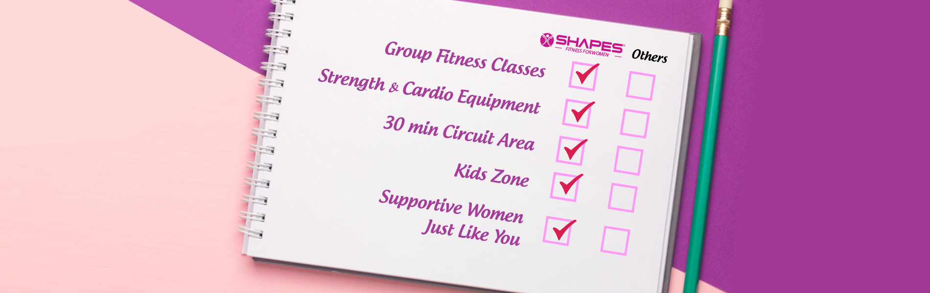Group fitness classes, Strength & cardio equipment, 30 min circuit area, kids zone, supportive women just like you